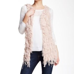 Dreamers Debut Pink Fringe Open Front Knit Vest